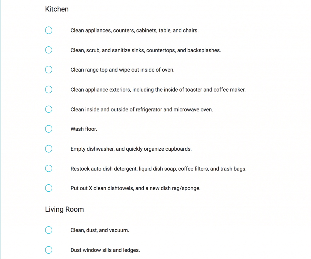 vacation rental checklist