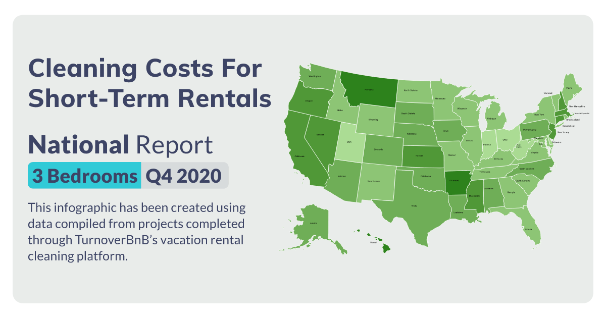 3 bedroom vacation rental cleaning costs Social Card by TurnoverBnB.